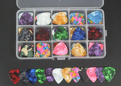 100pcs Celluloid Acoustic Electric Guitar Picks Pick 6 thickness + Storage Box