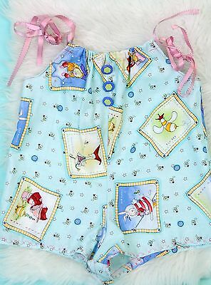 VTG hand made in USA baby girl 18M tie shoulder BLUE bubble romper playsuit