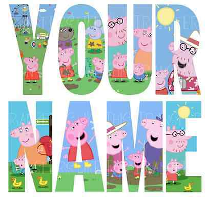 PEPPA PIG GEORGE LETTER STICKERS WALL DECO DECAL 3 SIZES PERSONALISED lot PL