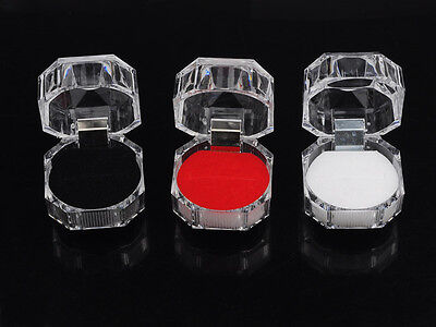 Hot Sell 6Pcs Mixed Lots Plastic Crystal Jewelry Ring Display Storage Boxes