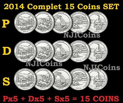 2014 P, D, S ATB America the Beautiful Parks Quarter Clad 15 Coins COMPLETE Set