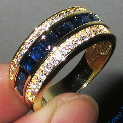 Sz 8-13 Classic Jewelry Mens Blue Sapphire 10KT Yellow Gold Filled Band Ring HOT