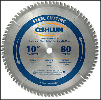 "OSHLUN  SBF-100080  10"" x 80T Steel Cutting Saw Blade"