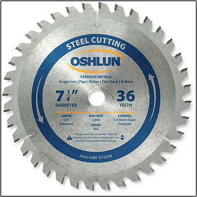 "OSHLUN  SBF-072536  7-1/4"" x 36T Steel Cutting Saw Blade"