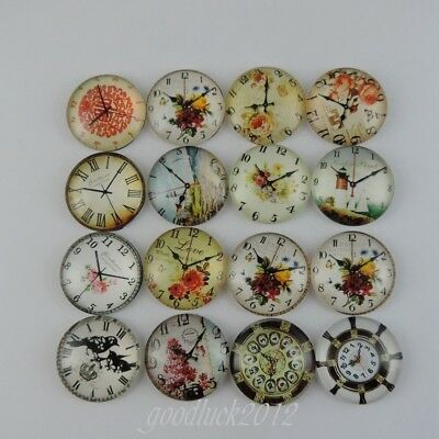9PCS Fashion Mixed Pattern Glass Made Flatback Round Clock Cameo Cabochons 39099