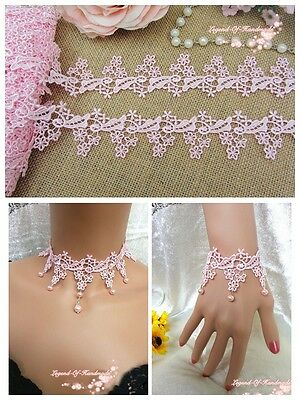 """1.5"""" *1Y Beautiful Venise Lace Trim~Baby Pink~Flying Daisy Fairy~Lovely~"""