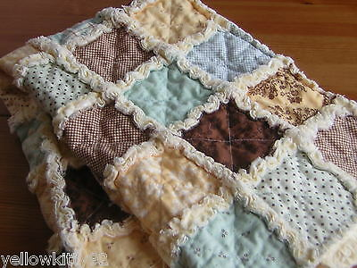 Snuggly cot rag quilt, soft throw, lap blanket, Moda 100% cotton. Handmade.