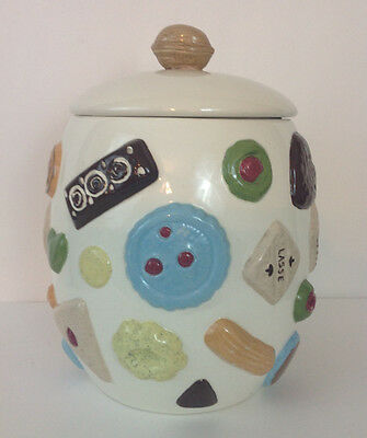 """Vintage Cookies All Over Cookie Jar Walnut Finial on Top Large 12"""" Tall"""