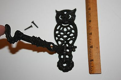 "Vintage Owl Hook Metal with hardware 5"" tall swing in and out removable arm"