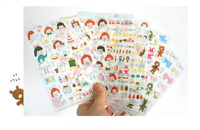 Cute Girl MURMURING VER 3 Stickers 6Sheet Deco Diary Planners Sticker EA55
