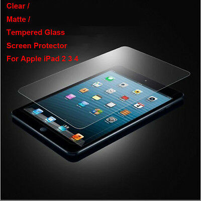 Tempered Glass / Clear / Matte Film Front Screen Protector For Apple iPad 2 3 4