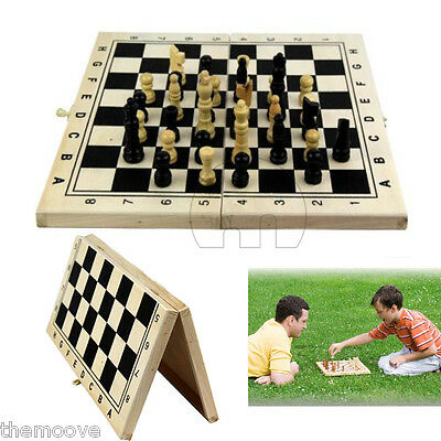 Fashion Wooden Pieces Chess Set Folding Board Box Wood Hand Carved Gift Toy TA