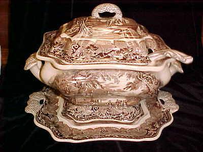 "RARE VINTAGE MASONS BROWN ""VISTA"" LIDDED SOUP TUREEN with TRAY & LADLE"