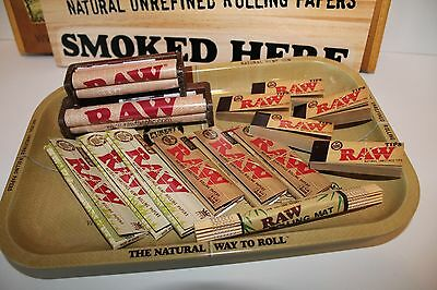 Super Raw Rolling Paper  Combo Tray+Papers+Tips+ 2 Rolling Machine Rollers +Mat