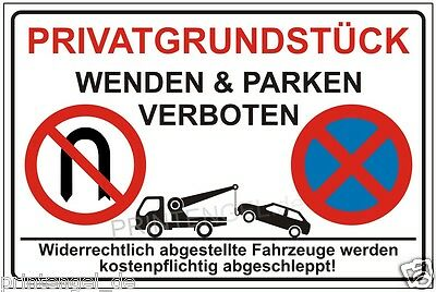 parkplatzschild privat parken verboten halteverbot schild hartschaumplatte 3 mm eur 5 99. Black Bedroom Furniture Sets. Home Design Ideas