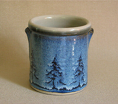 potterybydave  - Utensil Holder -  Blue with Pine Tree design - Round with knobs
