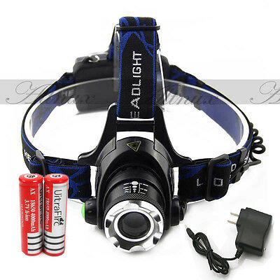 12000LM CREE XM-L T6 LED Headlamp Headlight flashlight head light lamp +battery