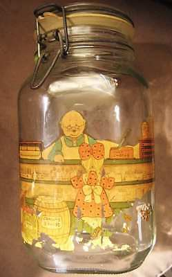 Vintage Glass Jar KILNER RAVENHEAD CLIP TOP with DECAL Container Large 4 lbs