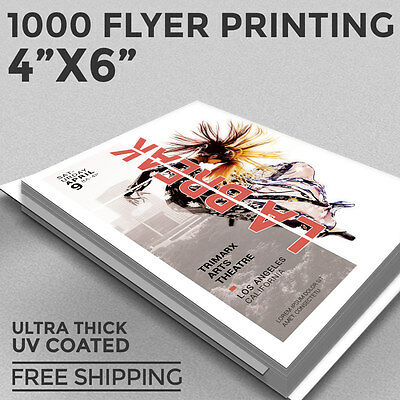 1,000 Flyer Printing - 4x6 Custom - Full Color - 16pt Thick Stock - UV COATING