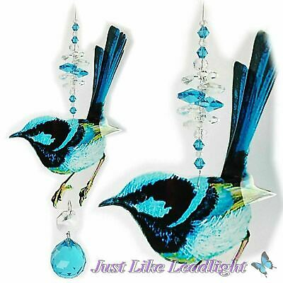 CRYSTAL SUNCATCHER BLUE WREN, with 30mm shere pendant 20 & 14mm octagon crystals