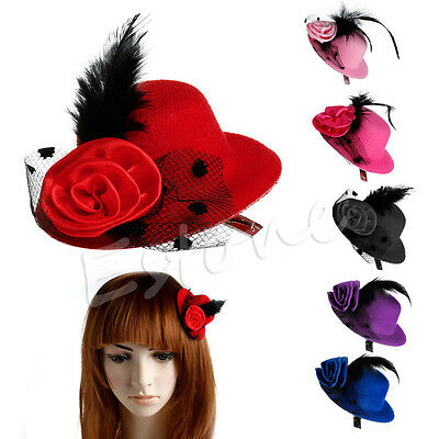 Feather Rose Ladys Mini Top Hat Cap Lace fascinator Hair Clip Costume Accessory