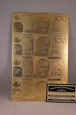 Uncut Sheet Of 4 Aust Polymer $100 Gold Foil Bank Notes Limited Release Of 200