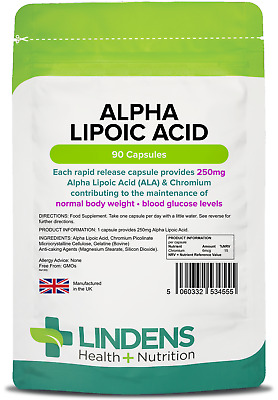 Alpha Lipoic Acid 250mg - powerful antioxidant - (90 capsules) [Lindens 4555]