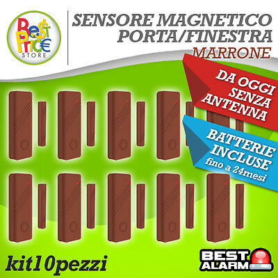 Kit10 Sensori Marroni Magnetici Porte/finestr Wireless Antifurto Allarme A-B-N-X