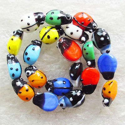 1Strand Intriguing Millefiori glass Ladybug Loose bead N648