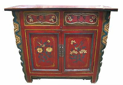 A Chinese Antique Red Color Wood Table 37 H x 44.5 W inches multi-color pattern