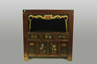 A Chinese Antique Mongolian Wood Book shelve Cabinet theater 37.5 H x 35 inches