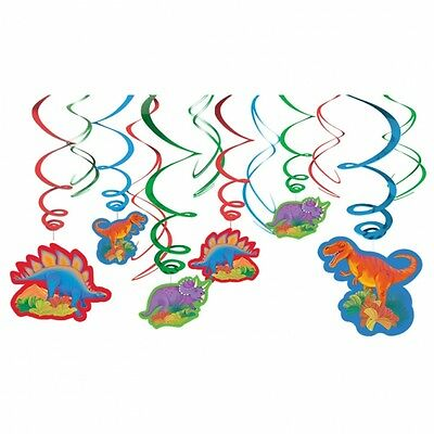 Prehistoric Dinosaur Party Swirls Hanging Decoration Pack Of 12