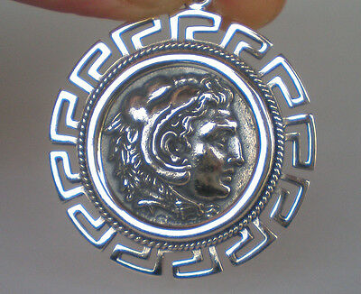 Alexander The Great Hercules X-Large Silver Coin Pendant-Meander- Macedonia King