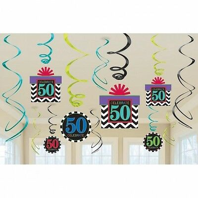 Celebrate 50Th Happy Birthday  Party Swirls Hanging Decoration Pack Of 12