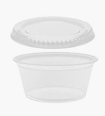 Souffle Cups with lids 2 Oz . plastic-Condiment portions 50
