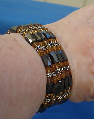 Vintage HEMATITE BRACELET/NECKLACE & Dangle EARRINGS Amber Color Crystals