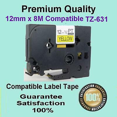 3 compatible Brother TZ631 P-TOUCH label tape Black Text On Yellow 12mm 1/2
