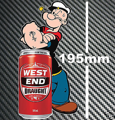 West End Draught Beer Can Popeye Sticker Speedway Toolbox Bar Fridge Man cave