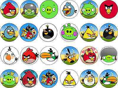 24 Angry Birds Edible Rice/Icing Paper Cupcake Bun Birthday Cake Toppers