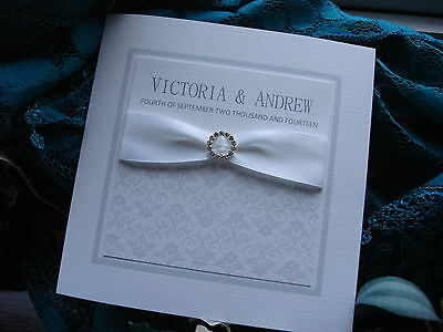 Personalised Handmade Wedding Invitation with Round Diamante Buckle