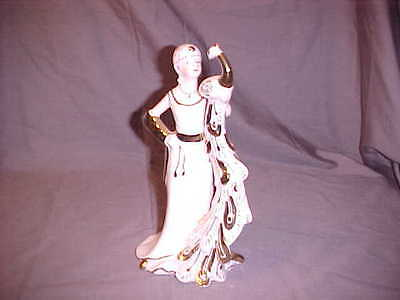 Awesome KPM Porcelain Figurine of Lady with Peacock ~GOLD DETAIL~