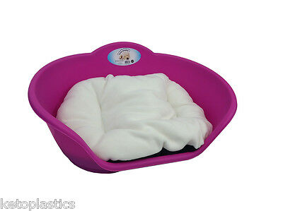 SMALL Plastic FUCHSIA PINK Pet Bed With CREAM Cushion Dog Cat Sleep Basket