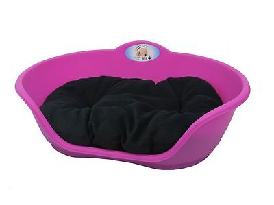 LARGE Plastic FUCHSIA PINK Pet Bed With CREAM Cushion - Dog Cat Sleep Basket