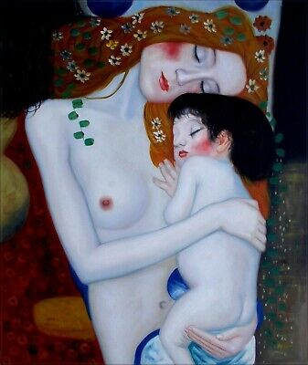 Gustav Klimt Mother and Child Repro, Hand Painted Oil Painting 20x24in