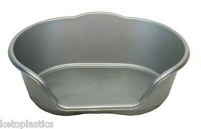 Medium Plastic Silver / Grey Dog / Cat / Pet Bed, Basket - Heavy Duty Made In Uk