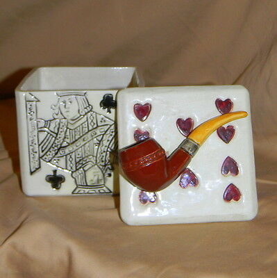 Antique WS&S Schiller & Sons Pipe Tobacco Box with Playing Card Motif