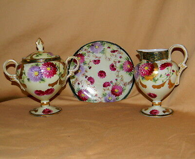 4 pcs Early 1900's Japanese Satsuma Handpainted Cream & Sugar and Saucer! Lovely
