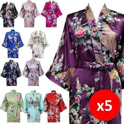 5 x Bridesmaid Wedding Robe Kimono Bulk Lot Peacock Floral Satin Bath Bridal