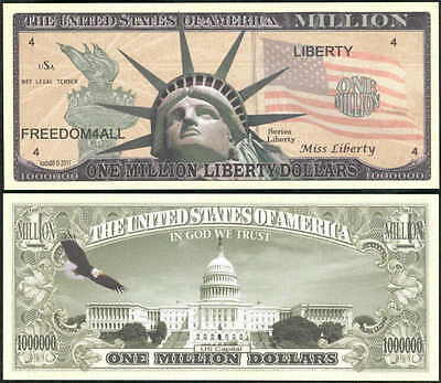 Lot of 25 - STATUE OF LIBERTY WITH TORCH MILLION DOLLAR FREEDOM NOVELTY BILL