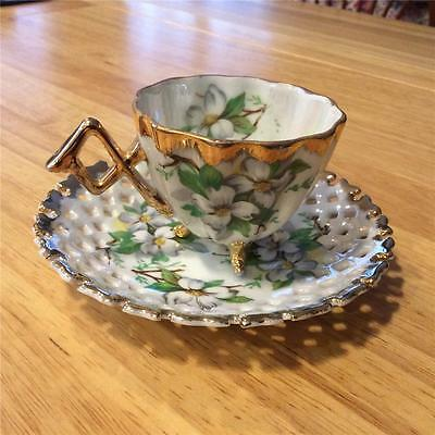 WOW Napco Hand Painted Reticulated Saucer with Footed Cup, Floral with Gold Trim